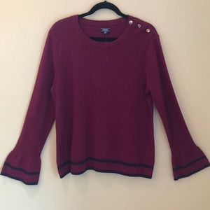 NWT Izod bell sleeve popover cotton sweather XL